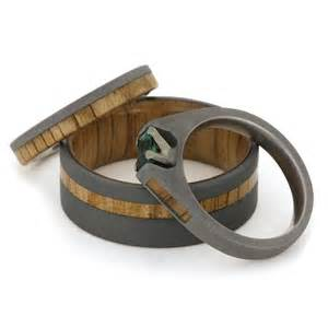 wood wedding rings wedding ring set featuring oak wood sandblasted titanium