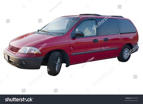 A Red Mini Van Over A White Background Stock Photo 2597673