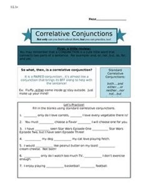 conjunctions images worksheets sentences writing