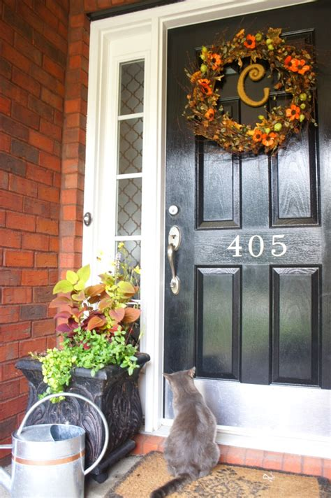 fall front porch planters   chaotically creative