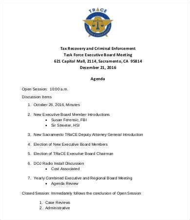 board meeting agenda template  word  documents