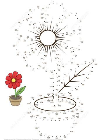 flower pot dot  dot  printable coloring pages