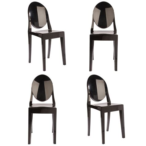 set of 4 style ghost dining chair black color