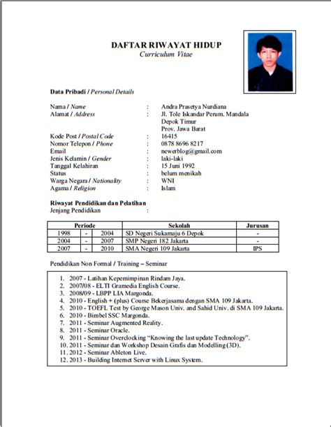 Resume Contoh Format by Believe Contoh Cv