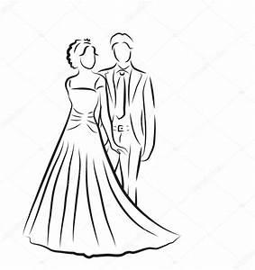 Dessin Couple Mariage Noir Et Blanc : silhouette de la mari e et le mari jeunes mari s croquis ~ Melissatoandfro.com Idées de Décoration