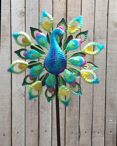 Spinner Peacock Wind Solar Garden Led