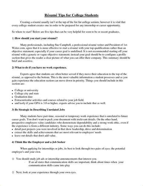 Resume For College Students by A Sle Resume For A College Student Business Templated Business Templated