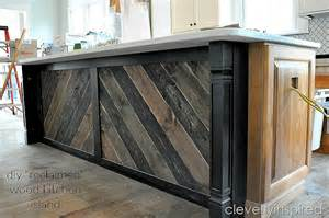 reclaimed kitchen island diy reclaimed wood on kitchen island cleverly inspired