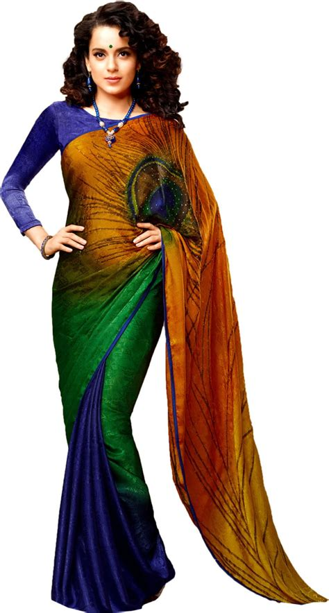 buy  rainbow printed bollywood georgette multicolor