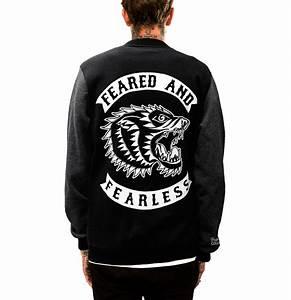 Black  Asphalt  U0026 39 Feared And Fearless U0026 39  Varsity Jacket By Few