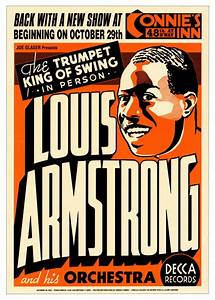 VINTAGE JAZZ ART PRINT Louis Armstrong: Connie's Inn NYC ...