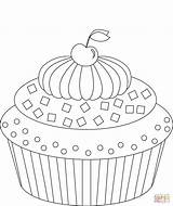 Cupcake Coloring Pages Cupcakes Cherry Food Printable Cute Puzzle Drawing Paper sketch template