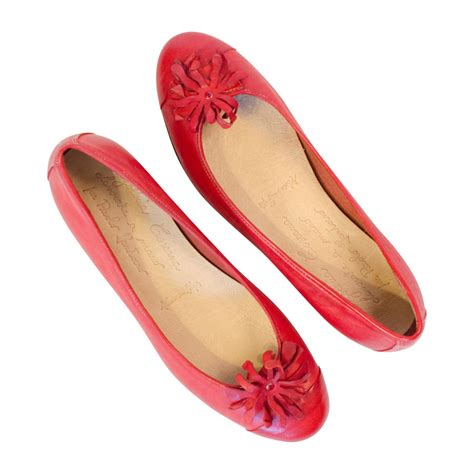 marcia red nappa leather ballerina flat  flower
