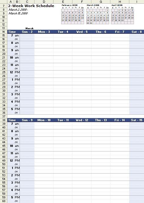 work schedule template  excel