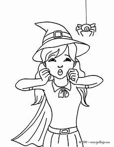 Dessin D Halloween Facile : coloriage belle sorci re dessin pour enfant ~ Dallasstarsshop.com Idées de Décoration