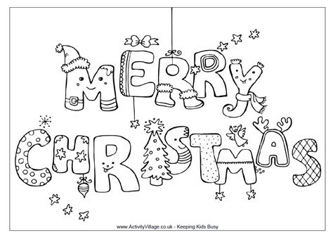 Christmas Coloring Pages Merry Bubble Letters   Bebo Pandco