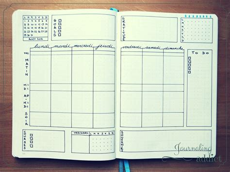 inspirations pour vos pages hebdomadaires bullet journal