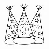 Coloring Hat Pages Party Birthday Popular sketch template