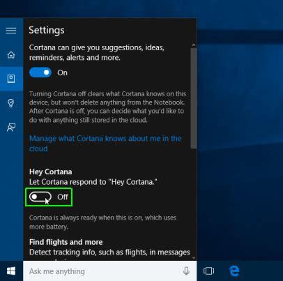 how to turn on hey cortana in windows 10