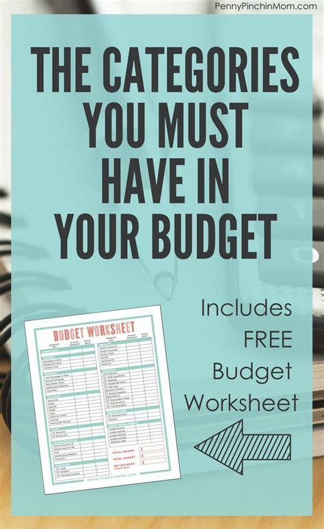 budget     categories living