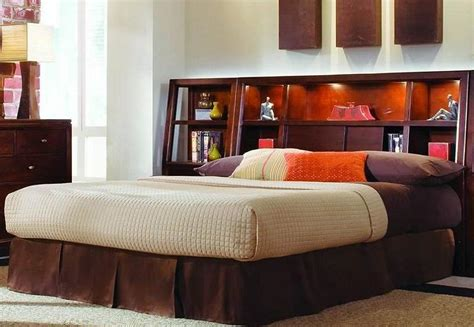 king bookcase headboard with lights headboards with storage contemporary bedroom with