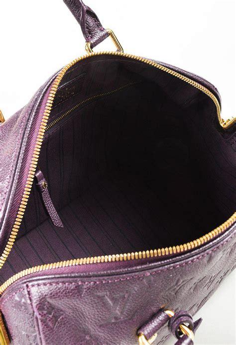 louis vuitton aube purple monogram leather speedy bandouliere  bag lyst