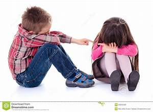 Angry Sulking Children Pointing At Each Other Stock Photo ...