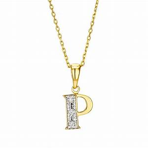9k gold diamond initial pendant letter 39p39 item g3785 With gold letter p pendant