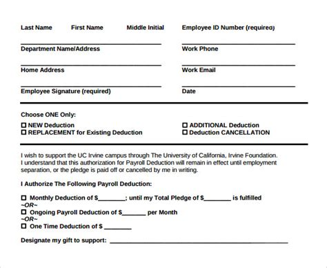 sample payroll deduction form    documents
