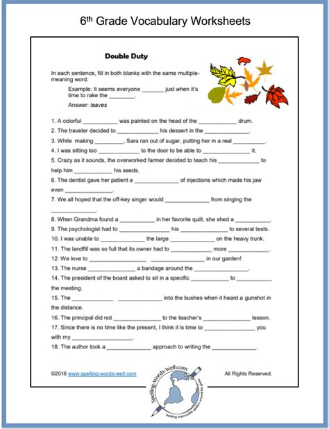 sixth grade vocabulary worksheets  images