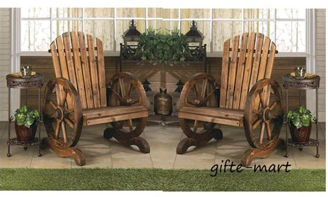 rustic wood country wagon wheel outdoor patio furniture