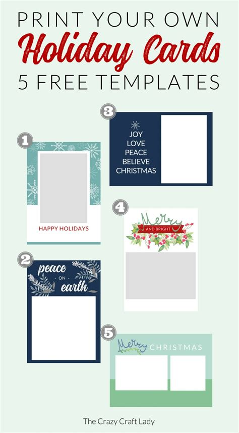 Free Christmas Card Templates The Crazy Craft Lady