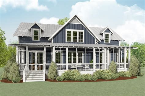 exclusive coastal cottage home plan  screened porch lls architectural designs