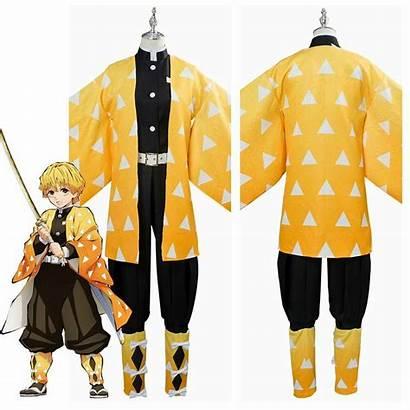 Zenitsu Cosplay Slayer Demon Kimono Kimetsu Yaiba