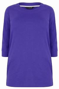 Blue Band Scoop Neckline T-Shirt With 3/4 Sleeves, Plus ...