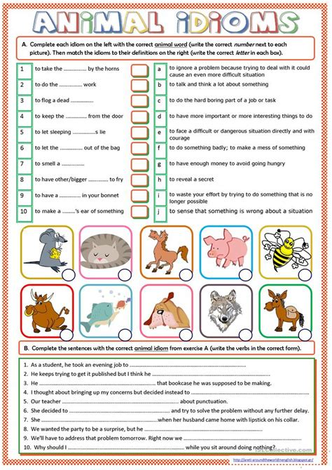 Printables Idiom Worksheets Lemonlilyfestival Worksheets Printables