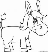 Donkey Coloring Cartoon Simple Printable Running Coloringall Horse Mammal sketch template