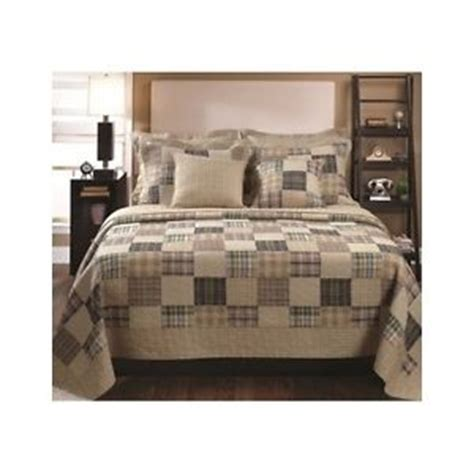 3 pc king size country cottage style plaid patchwork quilt bedding comforter set