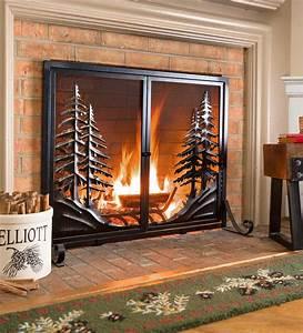 Alpine, Fireplace, Screen, With, Doors