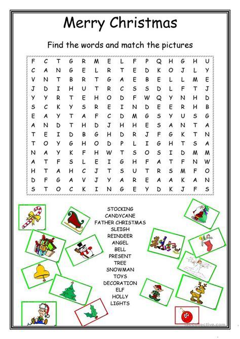 christmas wordsearch worksheet free esl printable
