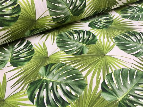Stoff Dschungel Motiv by Green Palm Leaves Cotton Fabric For Curtain Upholstery