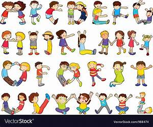 Kids Formed Alphabets Chart Royalty Free Vector Image