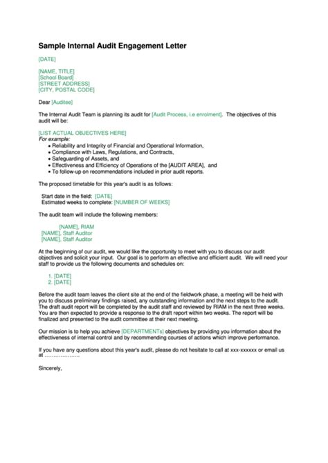 sample internal audit engagement letter template printable