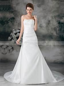 strapless taffeta beaded mermaid wedding dress with court With beaded top wedding dress