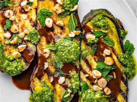 eggplant steaks  pesto yogurt  steak sauce