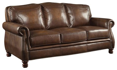 brown leather sofa with nailheads traditional sofas