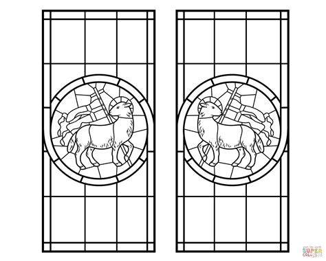 Kleurplaat Crossen by With Cross Stained Glass Coloring Page Free
