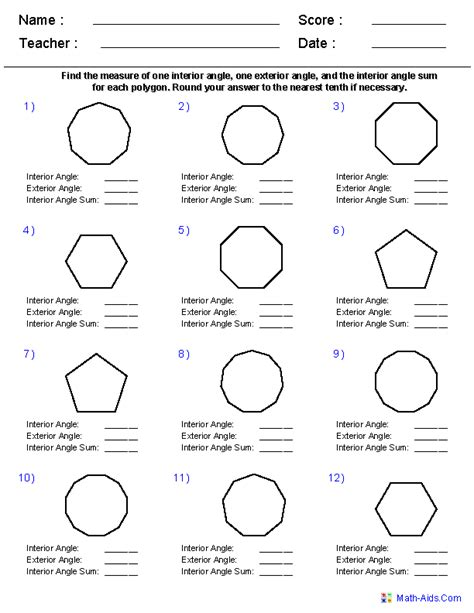 names of polygons geometry worksheets quadrilaterals