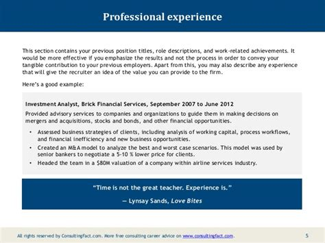 How To Describe Your Work Experience On A Resume by Mckinsey Resume Sle
