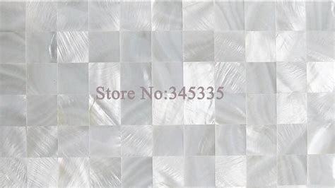 pure white groutless square shell mosaic mother  pearl